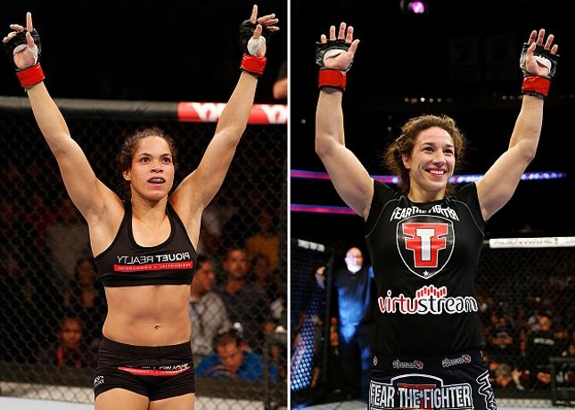 Amanda (esq.) e McMann (dir.): duelo entre duas top-15 do peso galo feminino. Foto: Produção SUPER LUTAS (Josh Hedges/UFC)