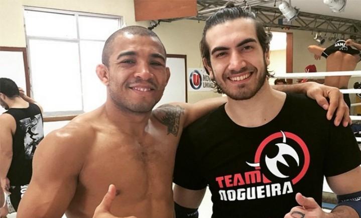 Ex-campeão do Jungle Fight, Bilharinho (dir.) foi sparring de Aldo (esq.) para luta com McGregor. Foto: reprodução
