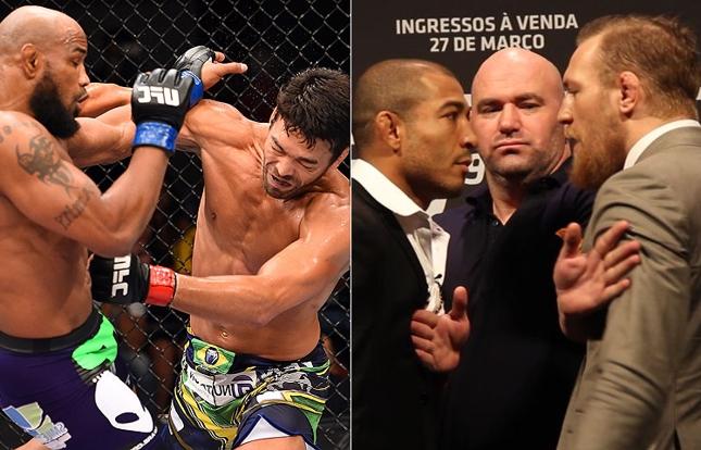 UFC FN 70 (esq.) e UFC 189 (dir.) serão destaques da nova edição do Hangout SUPER LUTAS. Foto: Produção SUPER LUTAS (Josh Hedges/UFC)