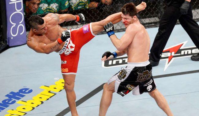 Belfort derrotou Bisping com um chute espetacular no UFC em São Paulo. Foto: Josh Hedges