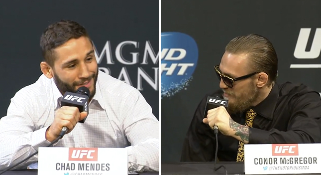 Mendes (esq.) e McGregor (dir.) se provocaram em coletiva. Foto: Reprodução