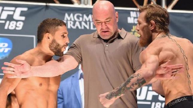 C. Mendes (esq.) e C. McGregor (dir.) fazem a luta principal do UFC 189. Foto: Reprodução