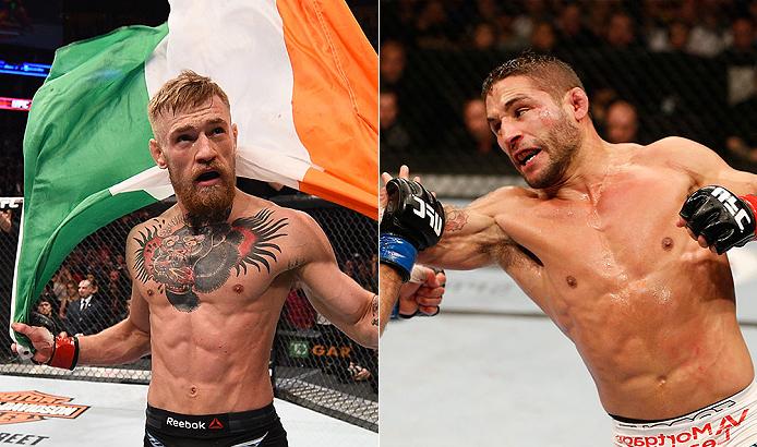 UFC 189 terá C. McGregor (esq.) contra C. Mendes (dir.). Foto: Produção SUPER LUTAS (Divulgação/UFC)