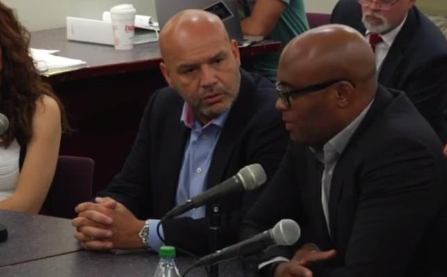 Anderson (dir.) durante a audiência na Comissão Atlética. Foto: Reprodução