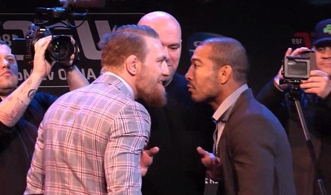 McGregor (esq.) e Aldo (dir.) unificam cinturões dos penas em dezembro. Foto: Reprodução