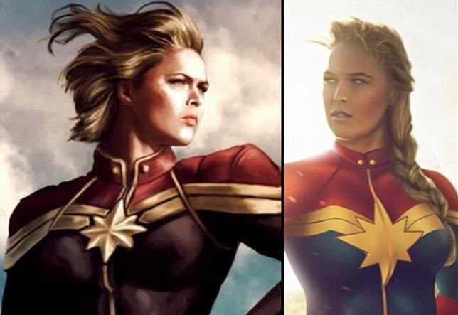 Ronda em versões estilizadas da Capitã Marvel. Foto: Reprodução