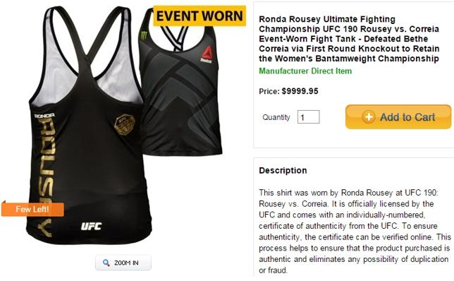 Roupa usada por Ronda é o mais caro dos 83 itens usados por atletas. Foto: Reprodução/UFC Store