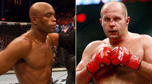 Luta entre Anderson (esq) e Fedor (dir) estaria nos planos do UFC, diz Sonnen. Foto: Produção SUPER LUTAS