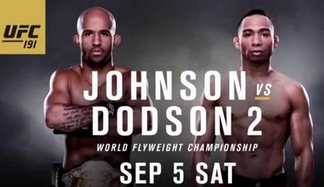 Revanche entre Johnson e Dodson é a luta principal do UFC 191. Foto: Divulgação