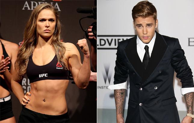 Ronda (esq) tve uma experiência ruim com sua irmã e Bieber (dir). Foto: Produção Super Lutas