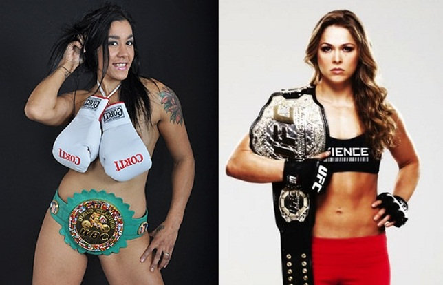 Erica Faria (esq.) não gostou do interesse de Ronda (dir.) no boxe. Foto: Produção SUPER LUTAS (Divulgação)