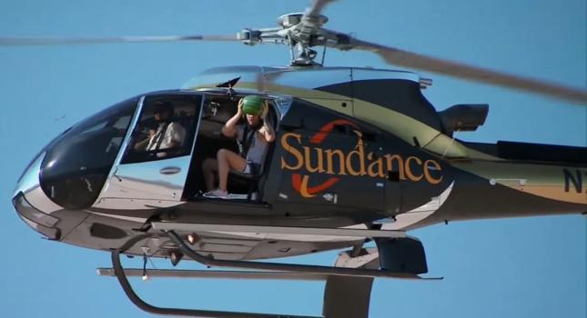 McGregor arremessa sua melancia do helicóptero no Desafio dos Técnicos. Foto: Reprodução