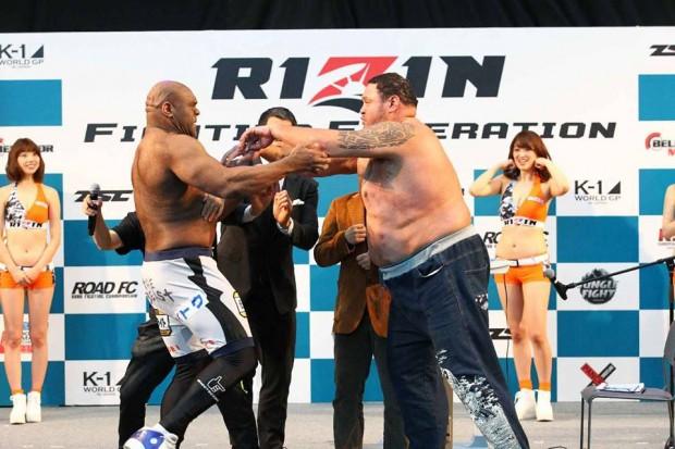 Briga entre Akebono e Sapp não convenceu. Foto: Reprodução/Facebook
