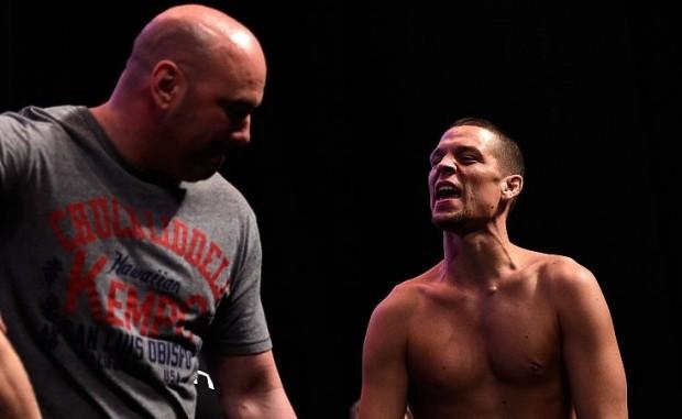 N. Diaz (dir) fez acusações contra D. White (esq) Foto: Josh Hedges/UFC