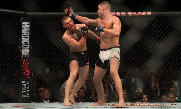 Tapa de Diaz já se tornou sua marca registrada. Foto: Josh Hedges/UFC