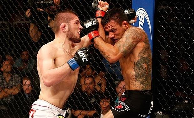 Khabib (esq.) e RDA (dir.) já se enfrentaram em abril de 2014. Foto: Josh Hedges/UFC