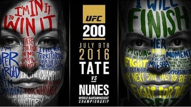Tate (esq.) e Nunes (dir.) já estão no pôster do UFC 200. Foto: Reprodução