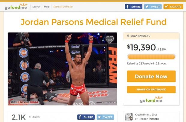 Parsons recebeu doações para despesas médicas. Foto: Reprodução