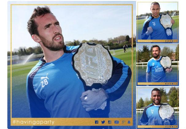 Jogadores do Leicester comemoram título inglês com o cinturão do UFC. Foto: Reprodução