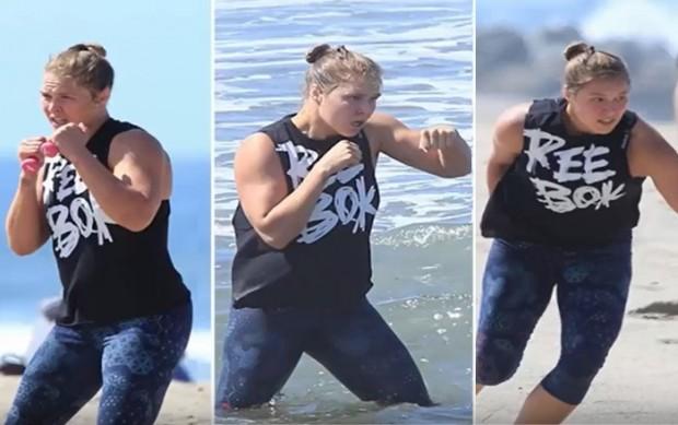 Ronda fez treino físico na praia. Foto: Reprodução