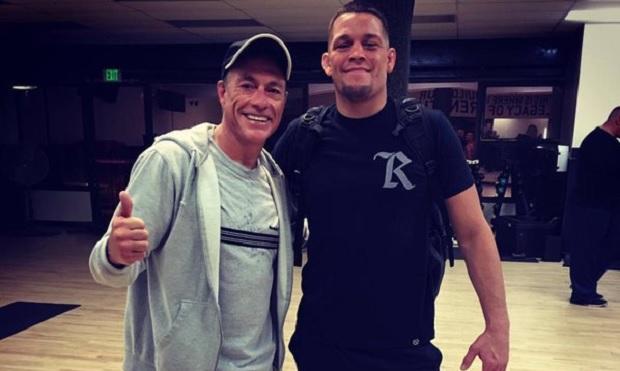Van Damme (esq.) e Nate (dir.) se encontraram na Califórnia. Foto: Reprodução