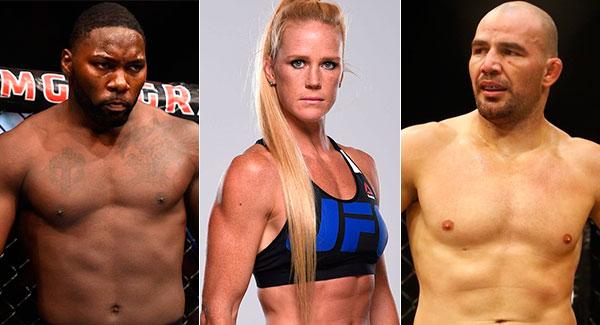AJ (esq.), Holm (centro) e Glover (dir.) lutam em julho. Foto: Produção SUPER LUTAS