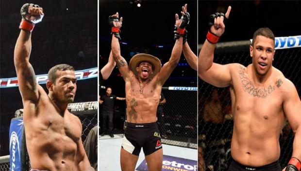 M. Trator (esq.), A. Cowby (c) e KLB (dir.) venceram no card preliminar do UFC Chicago