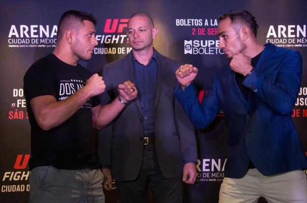 Dos Anjos (esq) e Ferguson (dir) fizeram a primeira encarada antes do UFC México. (Foto: UFC / Divulgação)