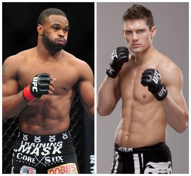T. Woodley (esq) e S. Thompson (dir) se enfrentam no UFC 205. (Foto: Produção SUPER LUTAS - Divulgação/UFC)