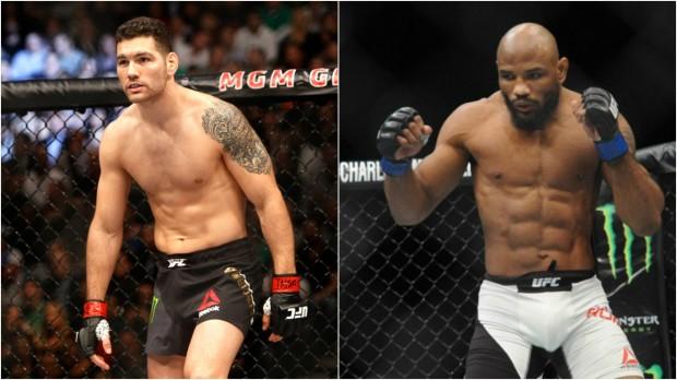 Weidman (esq) encara Romero (dir) no UFC 205. Foto: Produção SUPER LUTAS (Divulgação/UFC)