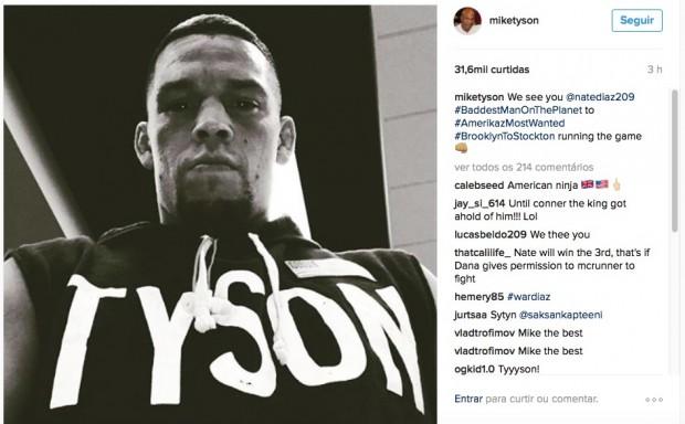 Postagem na qual M. Tyson homenageia N. Diaz (Foto: Reprodução)