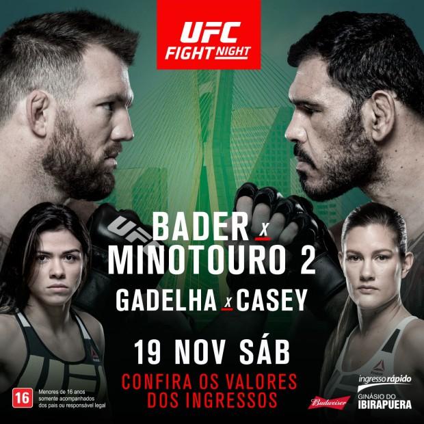 Evento será dia 19 de novembro, no Ginásio do Ibirapuera. (Foto: Divulgação UFC)