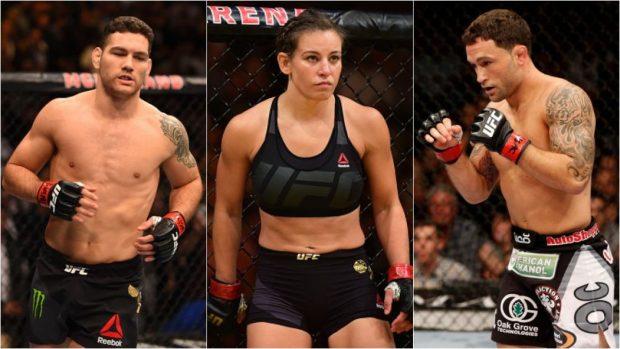 Weidman (esq), Tate (cen) e Edgar (dir) perderam em suas últimas lutas. (Foto: Produção SUPER LUTAS (Divulgação/UFC)