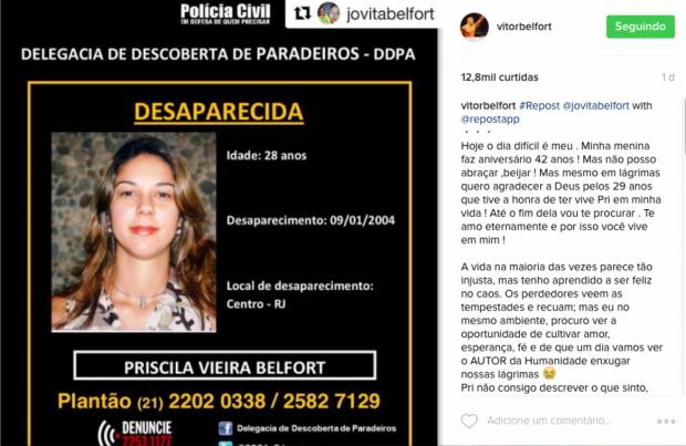Belfort postou mensagem lembrando da irmã em suas redes sociais. (Foto: Reprodução)
