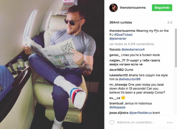 """McGregor cometeu gafe em """"tirar onda"""" em seu jatinho. Foto: Reprodução"""
