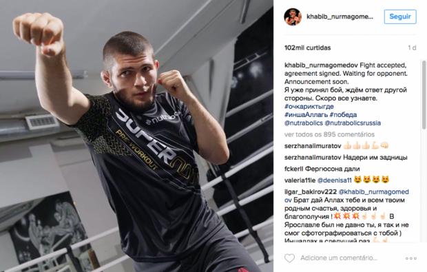Nurmagomedov postou mensagem misteriosa em rede social. (Foto: Reprodução)