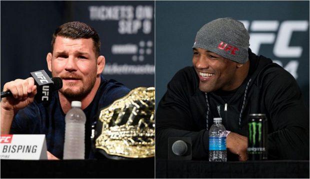 Bisping (esq) e Romero (dir) vêm trocando provocações nas redes sociais. (FOTO: Getty Images/Produção: SUPER LUTAS)