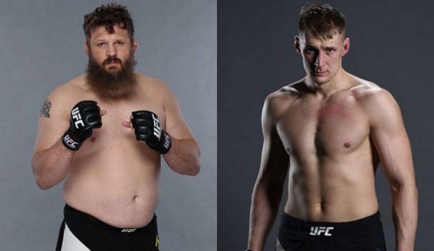 Nelson (esq) e Volkov (dir) se enfrentam em abril. (Foto: UFC/Produção: SUPER LUTAS)