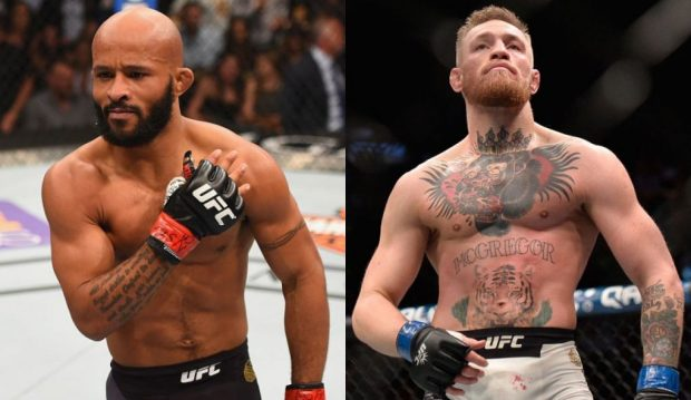 Johnson (esq) cogitou superluta contra McGregor (dir) (Fotos: UFC/Montagem: Super Lutas)