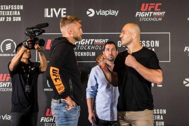 A. Gustafsson (esq) e G. Teixeira (dir) se encaram (Foto: Reprodução/Facebook UFC)