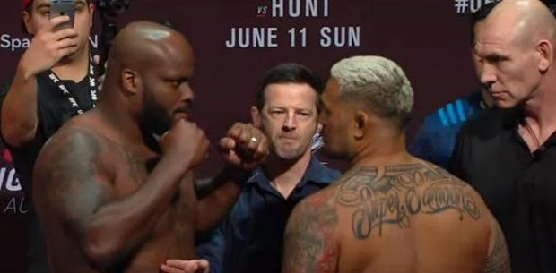 D. Lewis (esq) e M. Hunt (dir) se enfrentam neste sábado (10) (Foto: Reprodução Youtube/UFC)