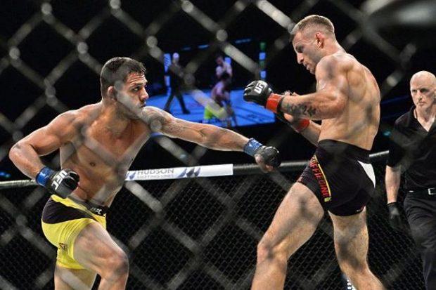 dos Anjos (esq.) bateu Saffiedine (dir.) no UFC Singapura. Foto: Repdorução/Twitter/UFC_Brasil