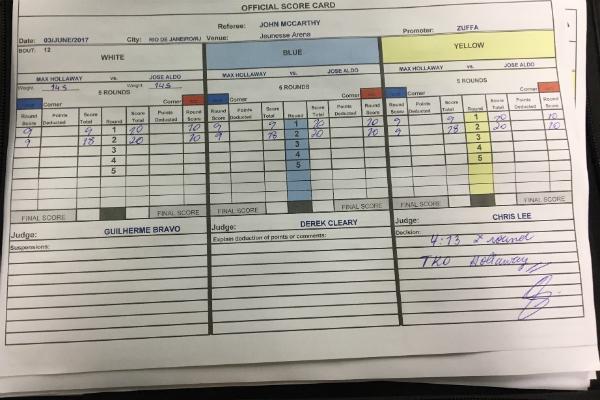 Papeletas mostram que Aldo venceu os dois primeiros rounds (Foto: Divulgação)