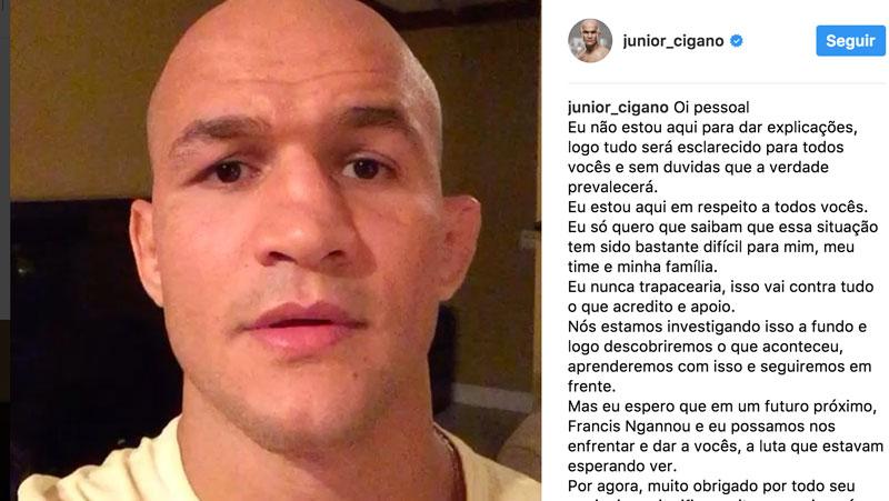 Cigano quebra silêncio após doping. Foto: Reprodução / Instagram