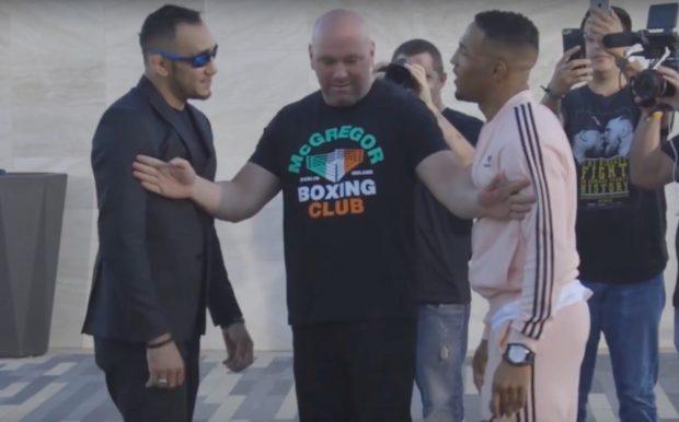 Ferguson (esq) e Lee (dir) quase brigaram (Foto: Reprodução/Youtube/UFC)
