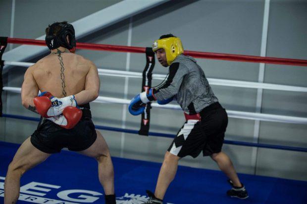 C. McGregor (esq) em sparring com P. Malinaggi (dir) Foto: Reprodução Twitter thenotoriousmma