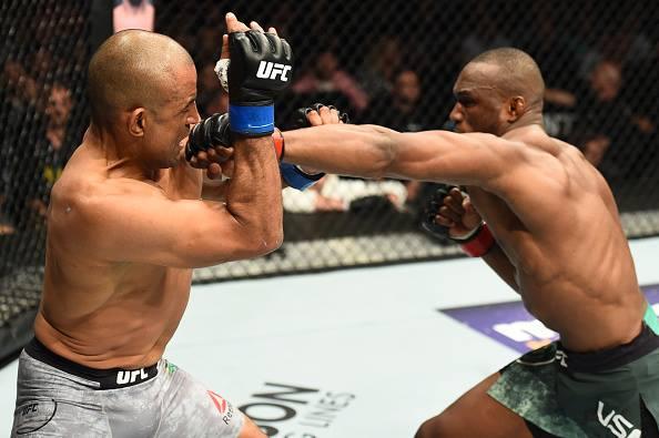 S. Moraes (esq) foi noauteado por K. Usman (dir) Foto: Reprodução Facebook UFC