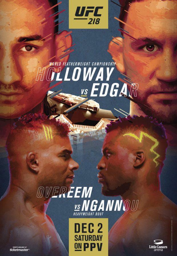 Pôster oficial destaca lutas principais do UFC 218 (Foto: Reprodução Twitter ufc)