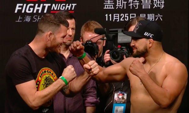 Bisping e Gastelum tiveram clima amistoso (Foto:Reprodução/Youtube UFC)