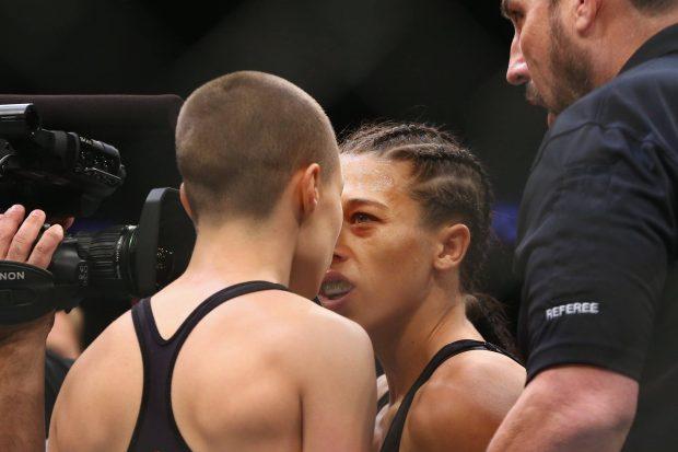 R. Namajunas (esq) e Joanna (dir): rivalidade (Foto: Reprodução Facebook UFC)
